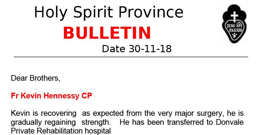 Holy Spirit Province NEWSLETTER<br>November 2018