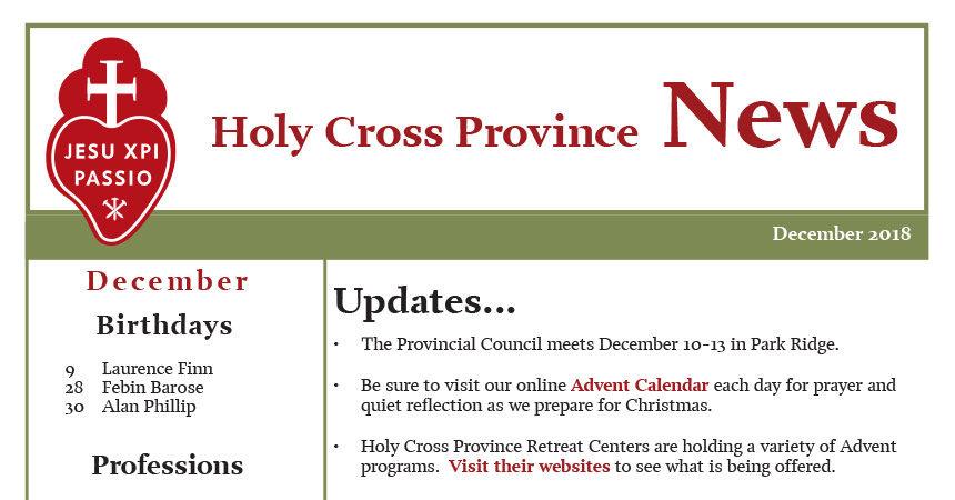 HOLY CROSS PROVINCE NEWSLETTER (CRUC-CJC) December 2018