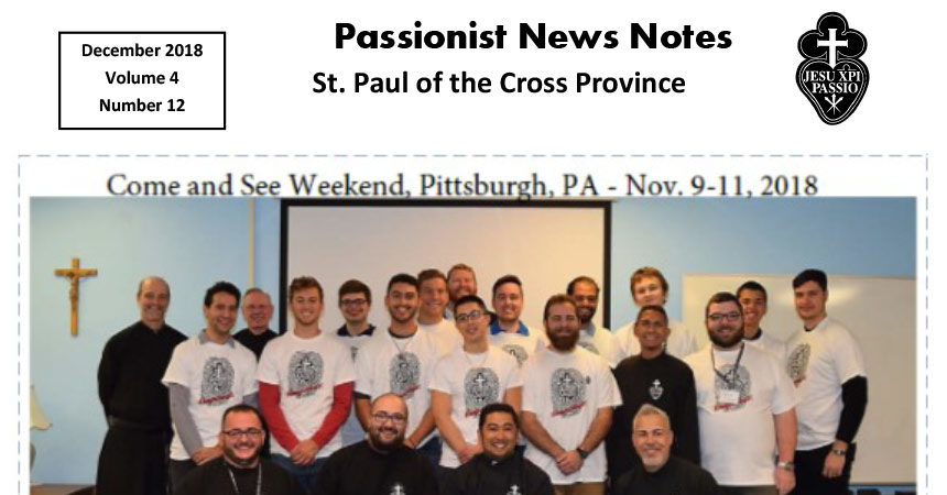 PASSIONIST NEWS NOTES December 2018