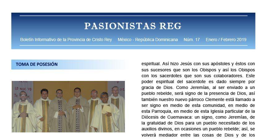 """Boletín """"PASIONISTAS REG""""<br>N° 17 Enero-Febrero 2019"""