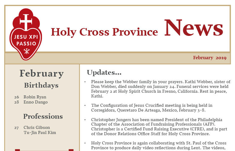 HOLY CROSS PROVINCE NEWSLETTER (CRUC-CJC)<br>February 2019