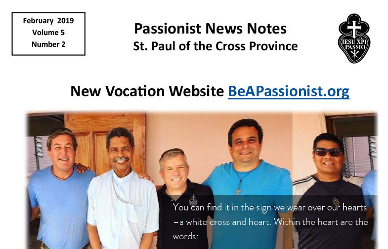 PASSIONIST NEWS NOTES – February 2019