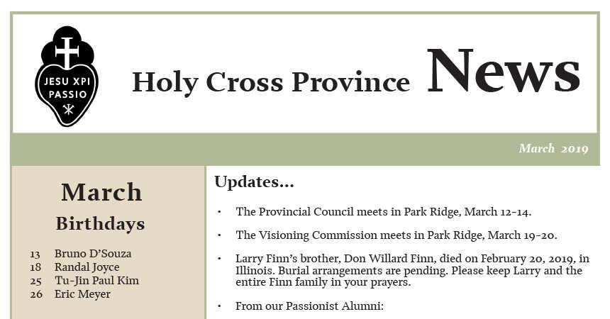 HOLY CROSS PROVINCE NEWSLETTER (CRUC-CJC)<br>March 2019