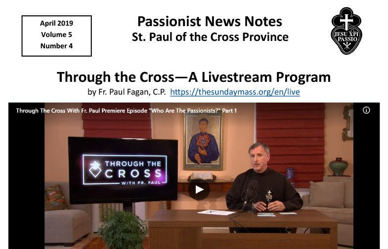 PASSIONIST NEWS NOTES – April 2019