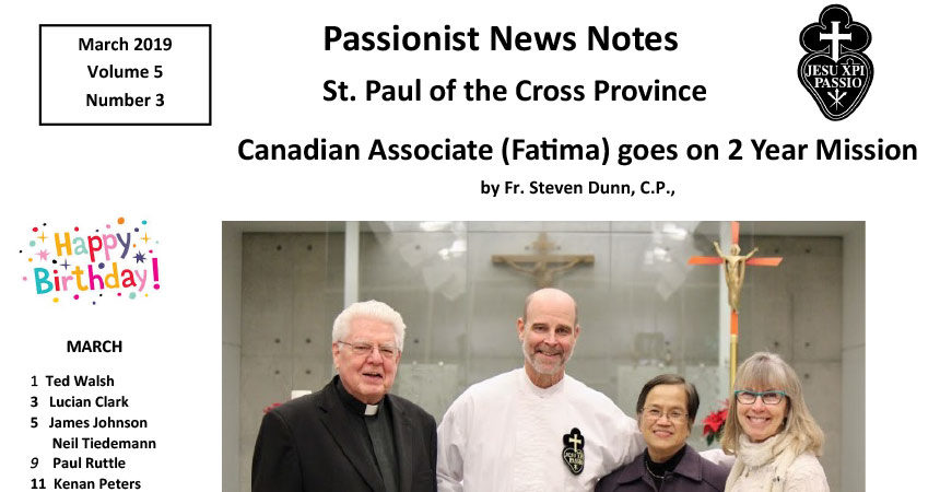 PASSIONIST NEWS NOTES – March 2019