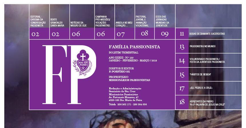 """Boletín """"FAMÍLA PASSIONISTA"""" de los Passionistas en Portugal<br>JANEIRO – FEVEREIRO – MARÇO / 2019"""