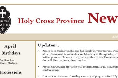 HOLY CROSS PROVINCE NEWS<br>April 2019