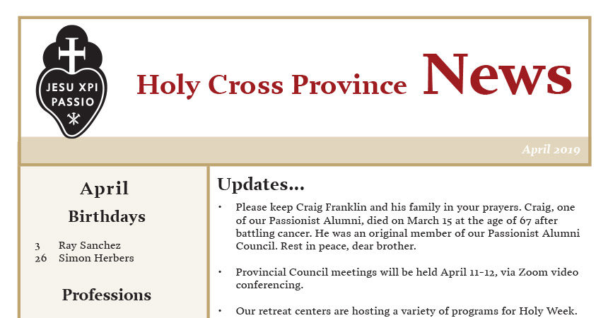 HOLY CROSS PROVINCE NEWS<br>April 2019
