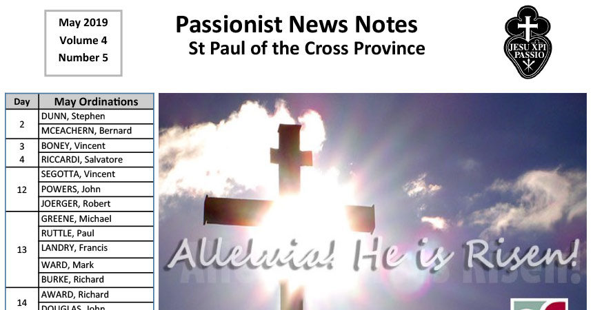 PASSIONIST NEWS NOTES – May 2019