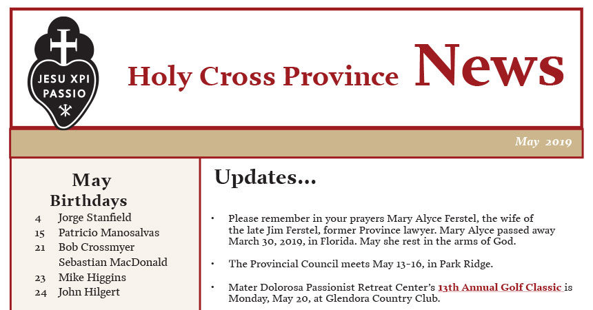 HOLY CROSS PROVINCE NEWS<br>May 2019