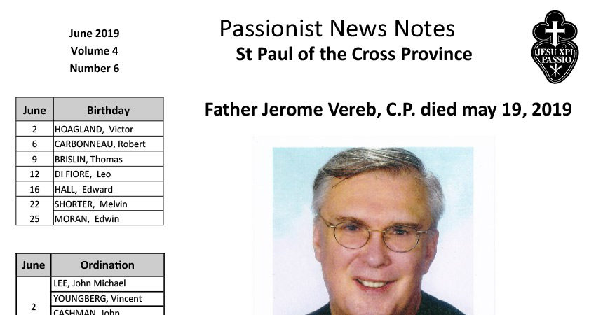 PASSIONIST NEWS NOTES – June 2019