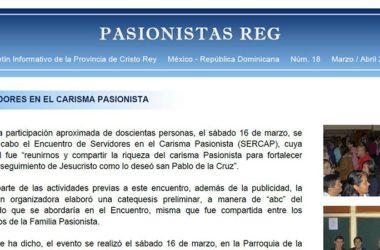 "Boletín ""PASIONISTAS REG""<br>N° 18 Marzo-Abril 2019"