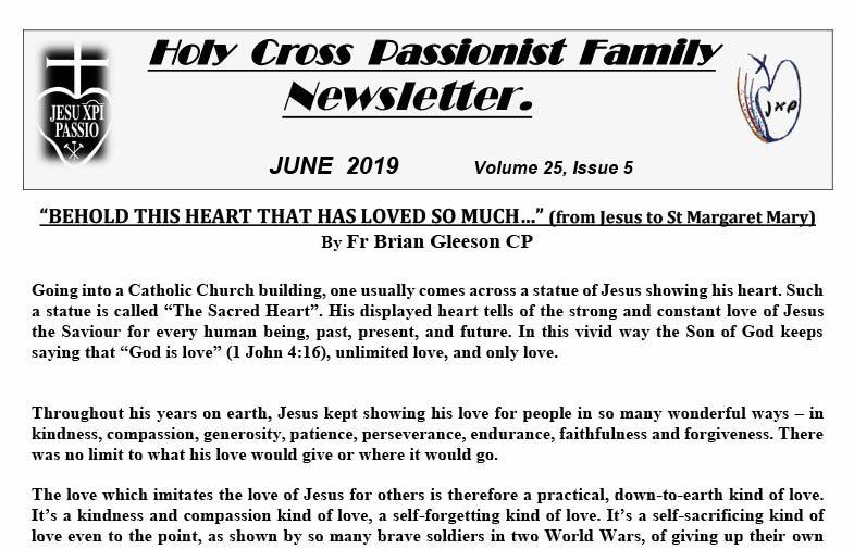 HOLY CROSS PASSIONIST FAMILY NEWSLETTER<br>June 2019