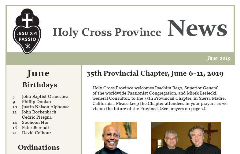 HOLY CROSS PROVINCE NEWS<br>June 2019