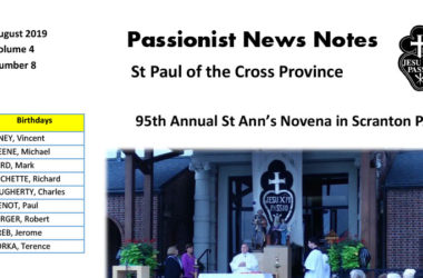 PASSIONIST NEWS NOTES – August 2019