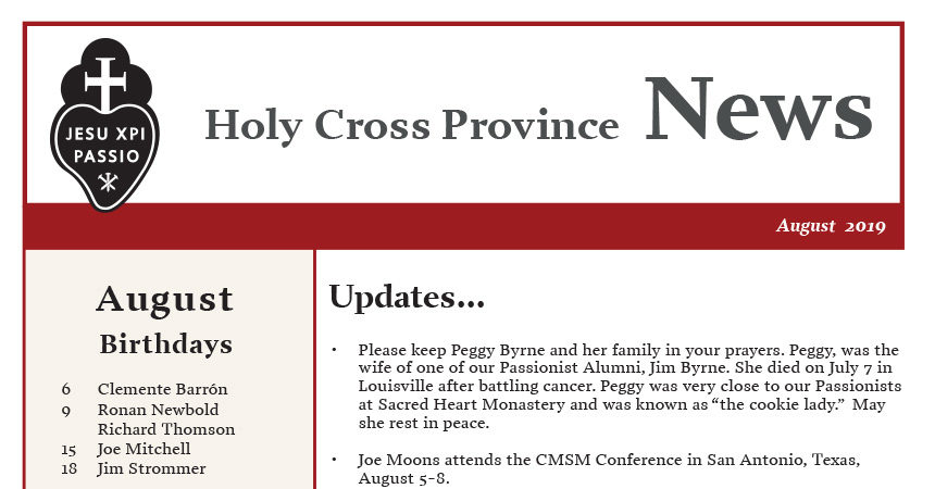HOLY CROSS PROVINCE NEWS – August 2019