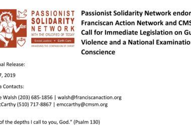 PASSIONIST SOLIDARITY NETWORK<br>Legislation on Gun Violence