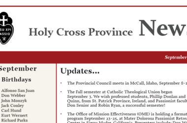 HOLY CROSS PROVINCE NEWS – September 2019