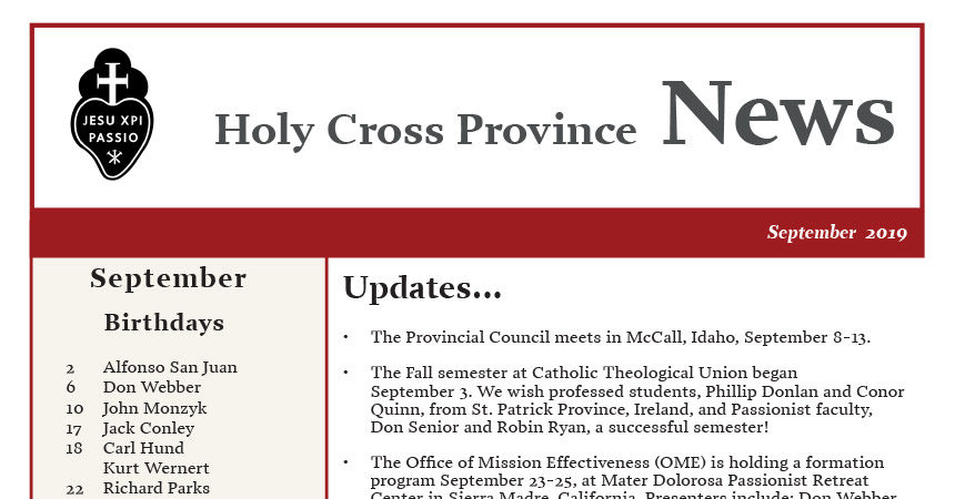 HOLY CROSS PROVINCE NEWS – September 2019