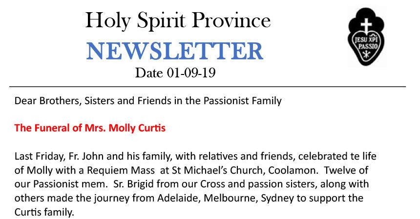 Holy Spirit Province NEWSLETTER – September 2019