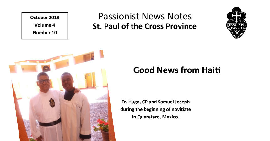 PASSIONIST NEWS NOTES – October 2019
