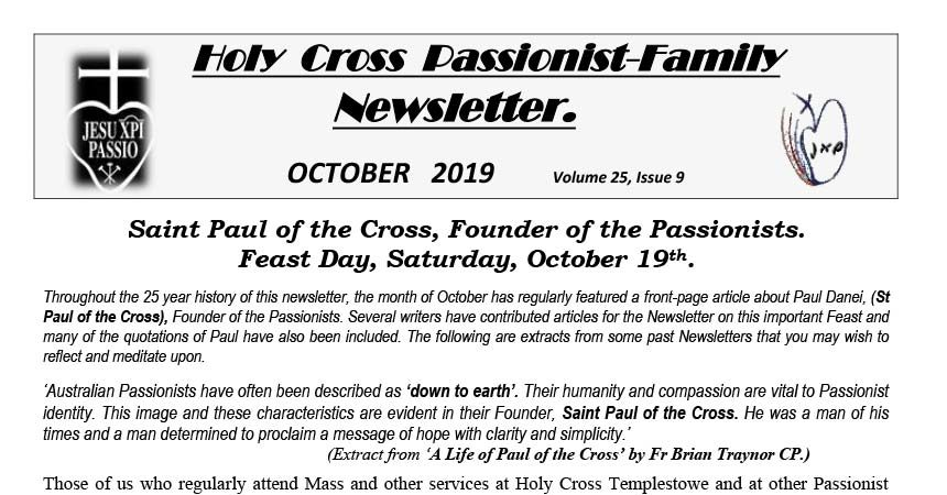 HOLY CROSS PASSIONIST FAMILY NewsLetter<br>October 2019