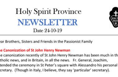 Holy Spirit Province NEWSLETTER – 24 October 2019
