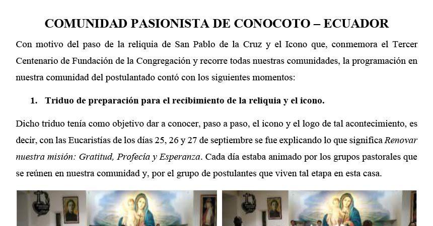 VISITA DEL ICONO Y LA RELIQUIA DE SAN PABLO DE LA CRUZ ECUADOR
