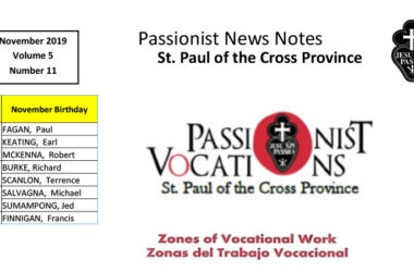 PASSIONIST NEWS NOTES – November 2019