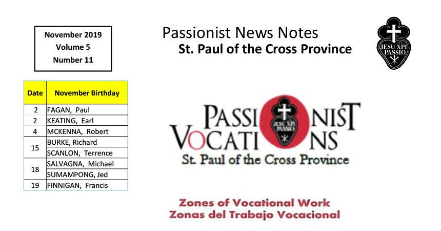 PASSIONIST NEWS NOTES – November 2019