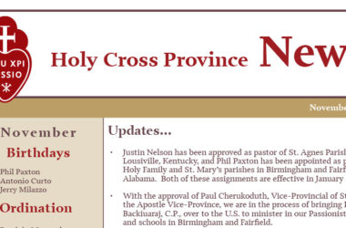 HOLY CROSS PROVINCE NEWS – November 2019