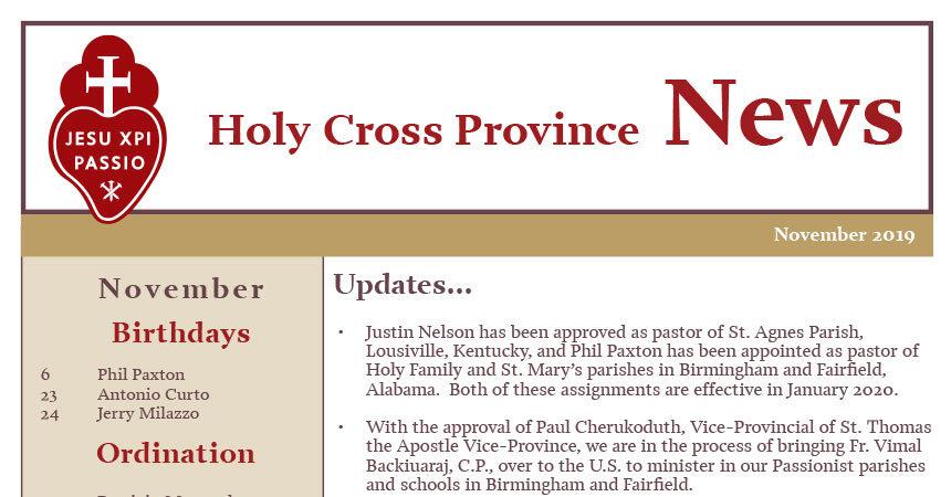 HOLY CROSS PROVINCE NEWS – November 2019