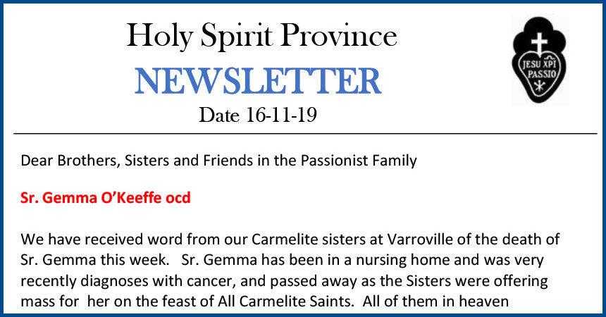 Holy Spirit Province NEWSLETTER – 16 November 2019