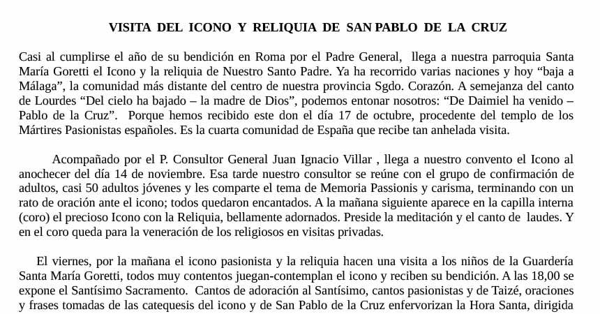 Visita del Icono y Reliquia de San Pablo… MALAGA – ESPAÑA