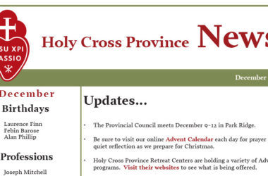 HOLY CROSS PROVINCE NEWS – December 2019