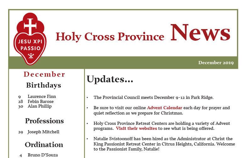 HOLY CROSS PROVINCE NEWS – December 2019