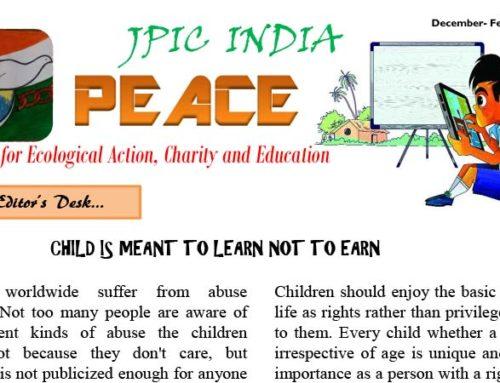 """PEACE"" JPIC INDIADecember – February  2019/2020"