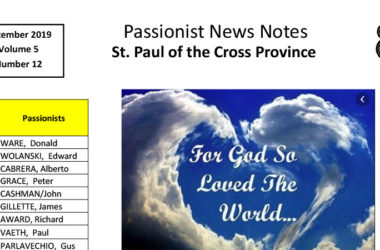 PASSIONIST NEWS NOTES – December 2019