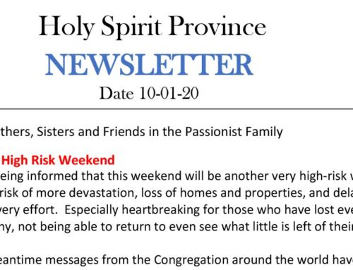 Holy Spirit Province NEWSLETTER – 20 January 2020