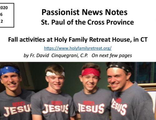 PASSIONIST NEWS NOTES – January 2020