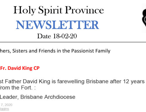 Holy Spirit Province NEWSLETTER – 18 February 2020