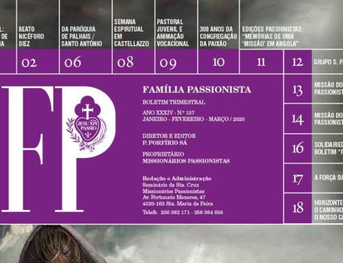 """Boletín """"FAMÍLA PASSIONISTA"""" de los Passionistas en PortugalJANEIRO – FEVEREIRO – MARÇO / 2020"""