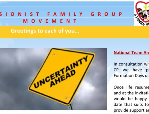 PASSIONIST FAMILY GROUP MOVEMENT (Australia) – March 2020