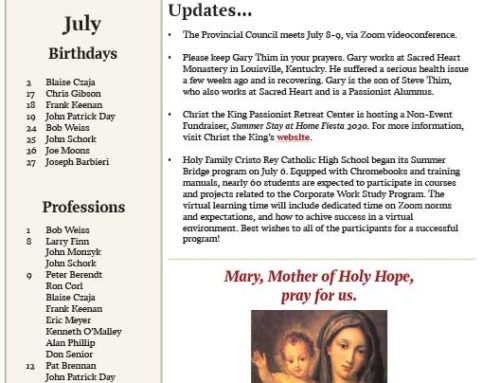 Holy Cross Province News – July 2020