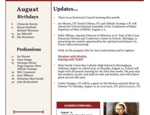 Holy Cross Province News – August 2020