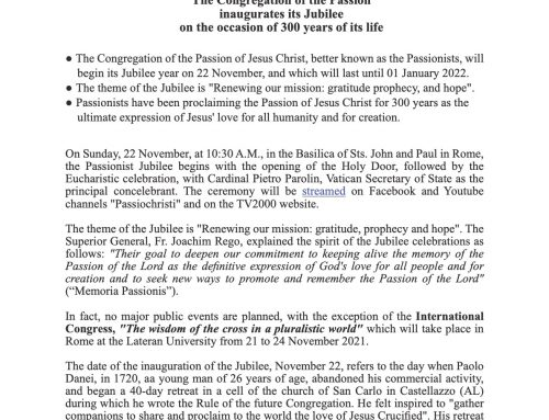 Second press releaseregarding the Jubilee of the Congregation.