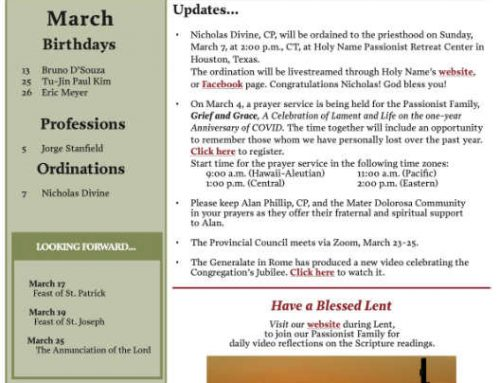 Holy Cross Province News – March 2021