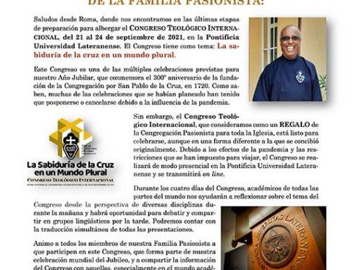 Invitación del Superior General aIV CONGRESO TEOLÓGICO INTERNACIONAL